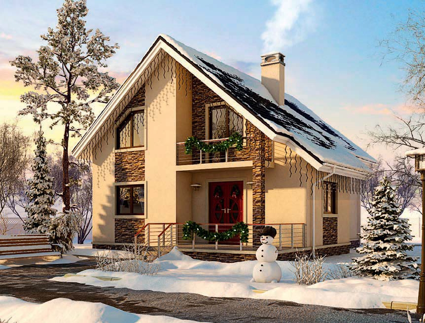 проект дома из газобетона AS-2123-3 строительство под ключ за 2 340 000 рублей