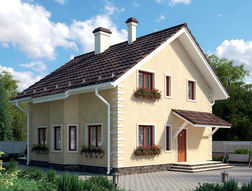 проект дома из газобетона AS-2243 строительство под ключ за 2 160 000 рублей