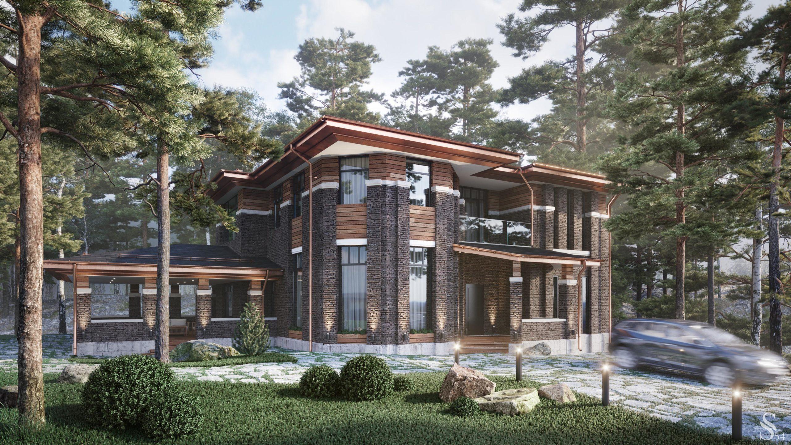 проект дома из газобетона Парквэй строительство под ключ за от 6 490 000 руб.  рублей